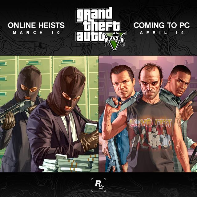 Grand Theft Auto V pro PC odloženo na 14. dubna, Heisty dorazí v březnu 106249