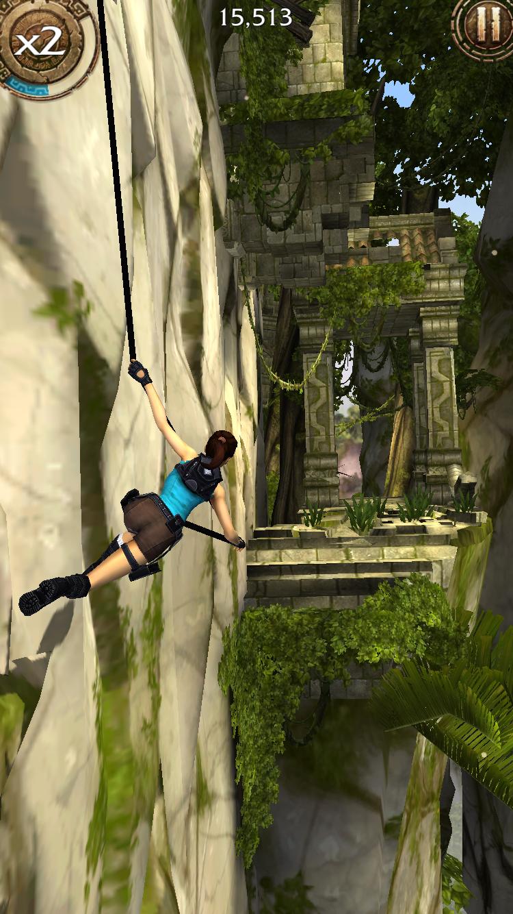 Mobilní Lara s akrobatickým během, motorkami a T-Rexem 107947