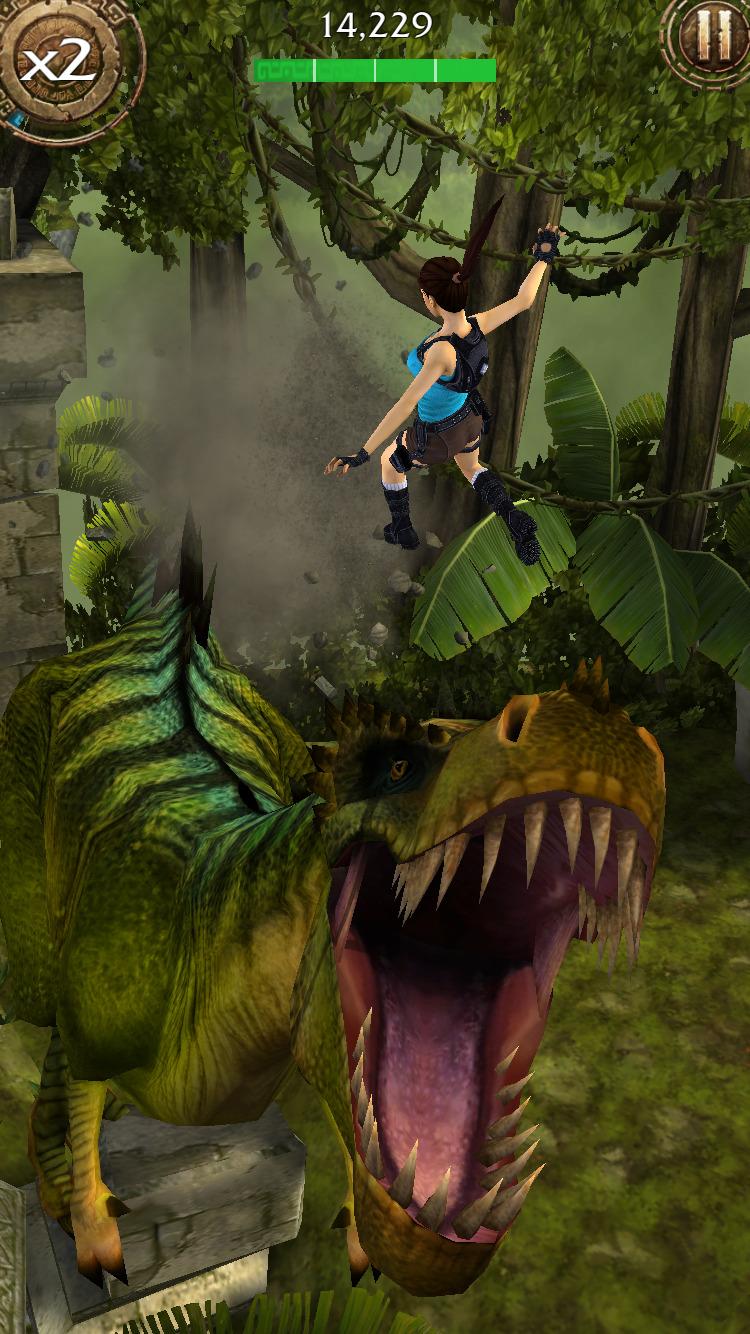 Mobilní Lara s akrobatickým během, motorkami a T-Rexem 107949