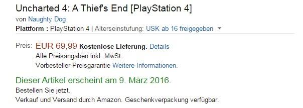 Podle německého Amazonu má Uncharted 4 vyjít 9. března 112902