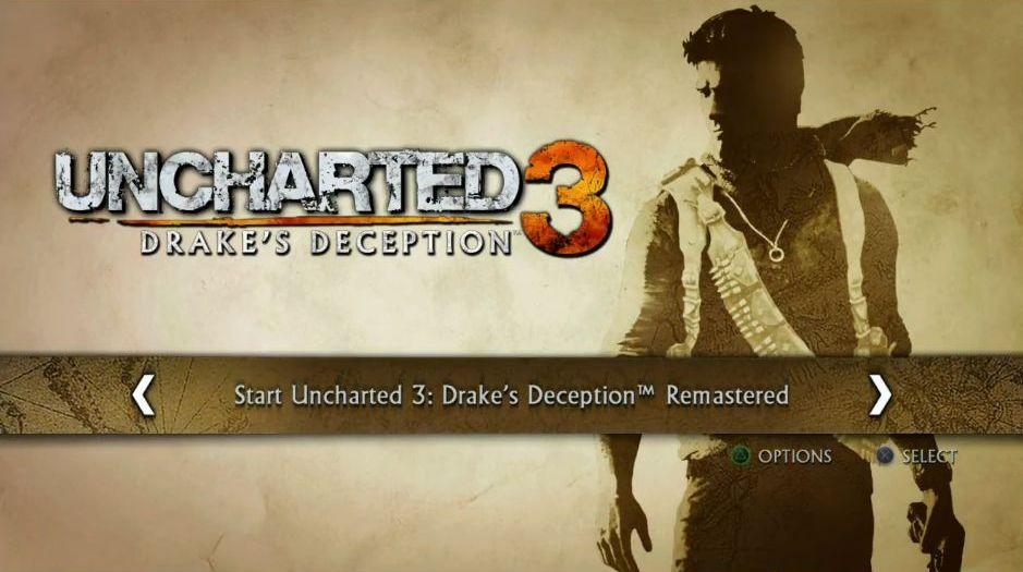 Uncharted: The Nathan Drake Collection má elegantní menu 114017