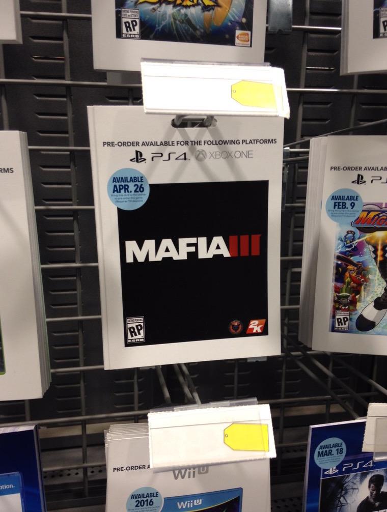 Reklama v obchodě tvrdí, že Mafie 3 vyjde velmi brzy 117839