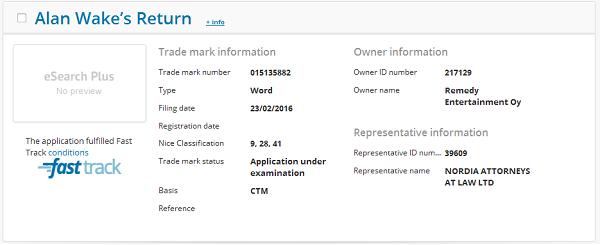Remedy si očividně zaregistrovalo značku Alan Wake's Return 119857