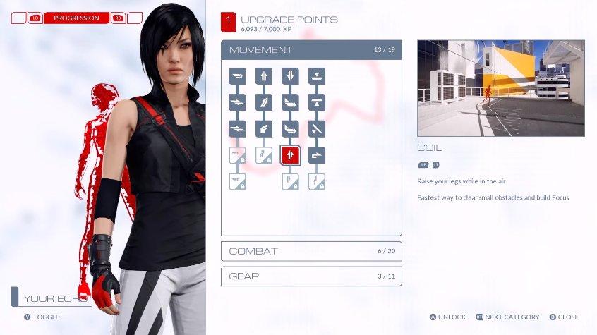 V Mirror's Edge: Catalyst budete postupně odemykat dovednosti Faith 122665