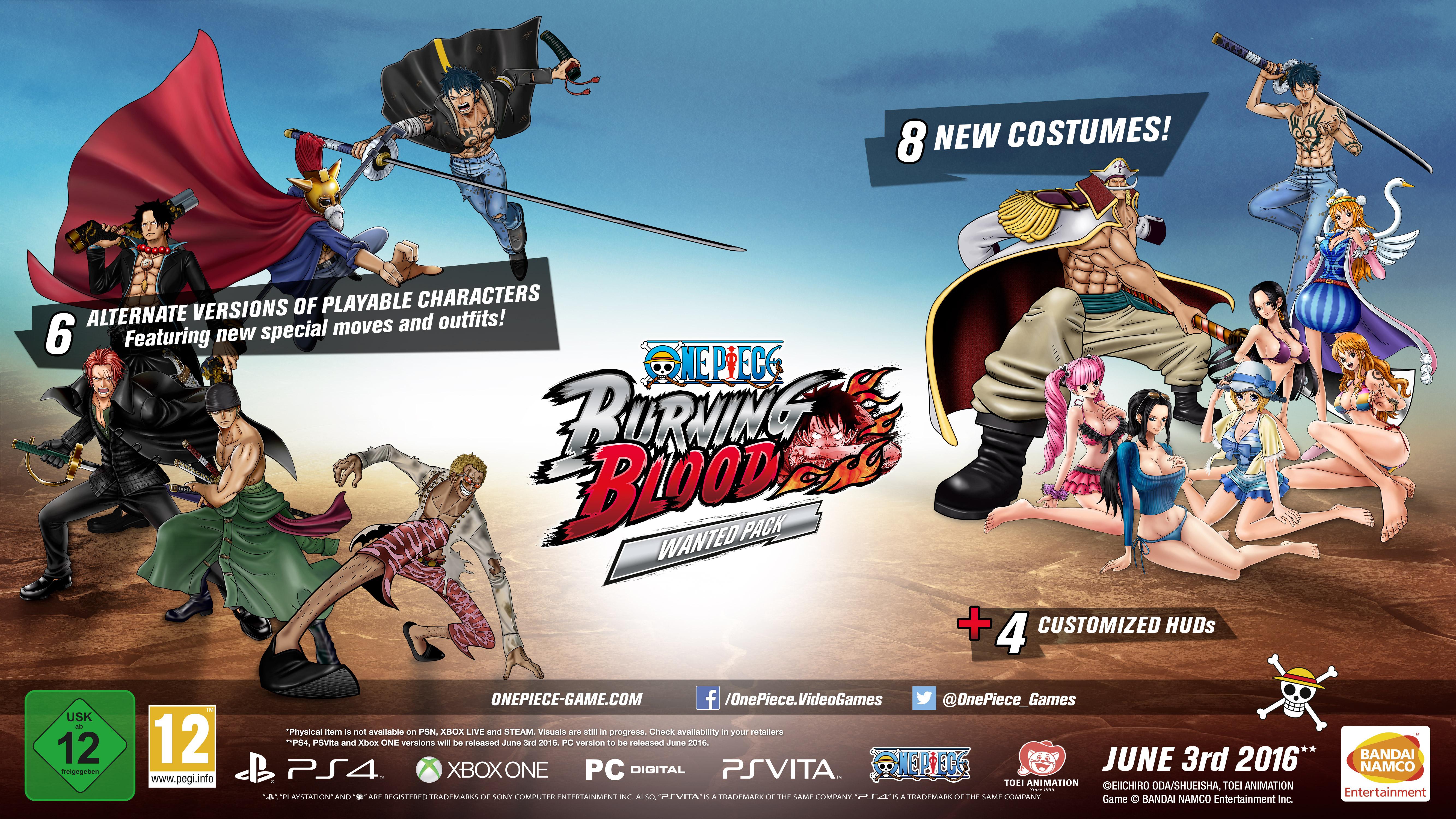 Bonusy za předobjednávku digitálních kopií One Piece: Burning Blood 122829