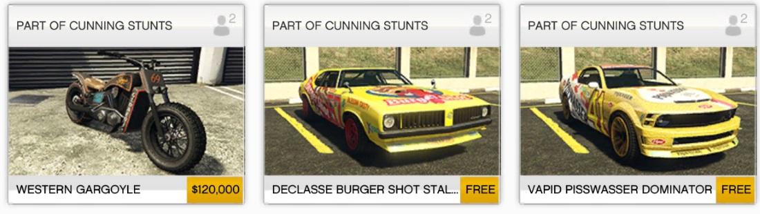 Kolik stojí novinky z Cunning Stunts updatu GTA V? 126973