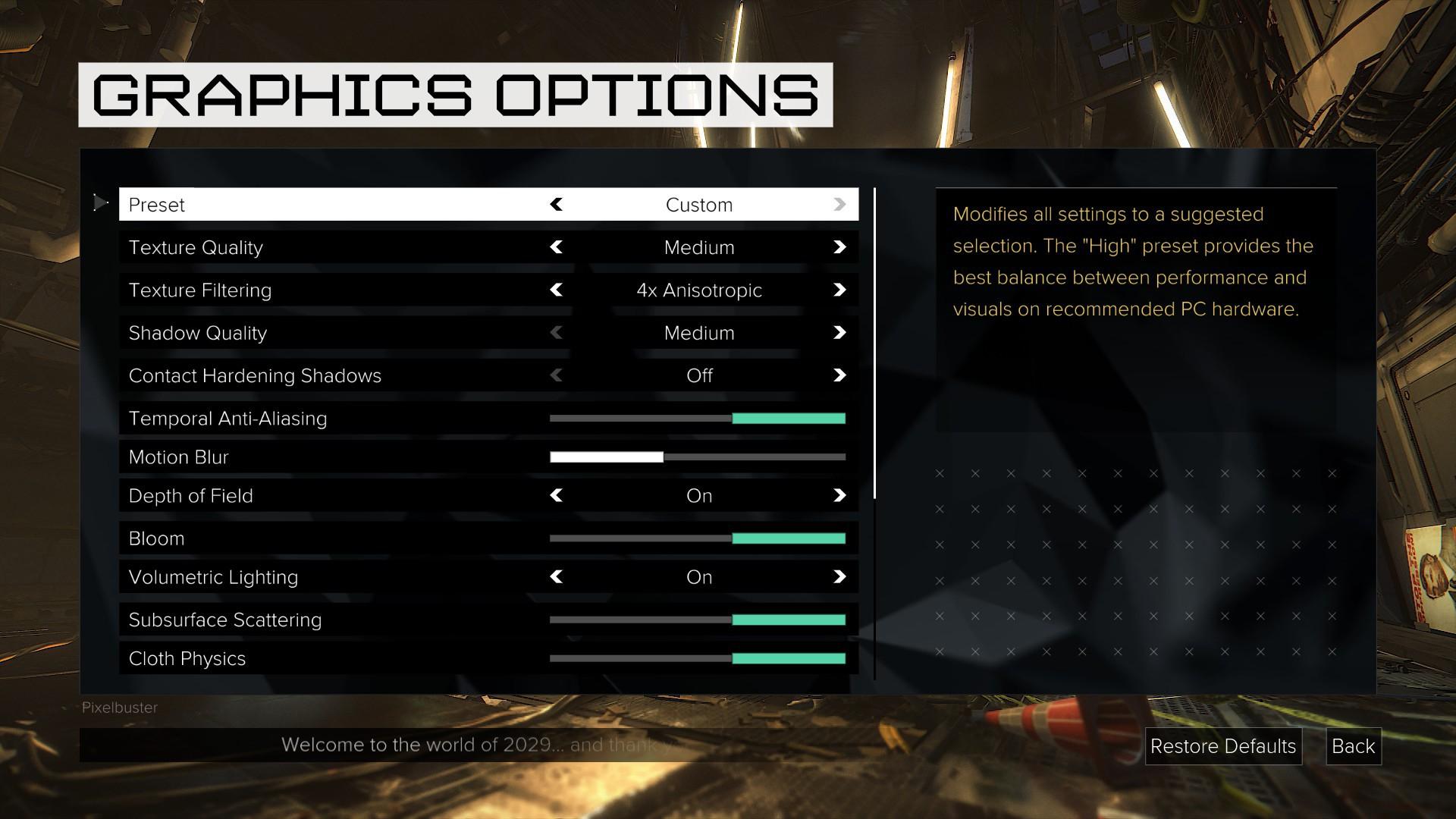 Grafické nastavení PC verze Deus Ex: Mankind Divided rozhodně není chudé 128894