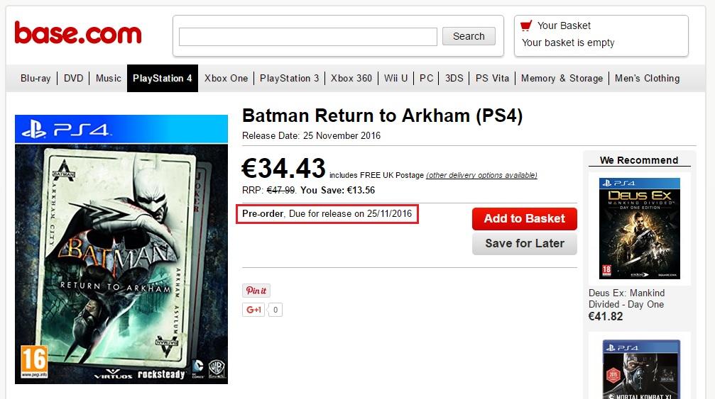 Vyjde kolekce Batman: Return to Arkham 25. listopadu? 129249