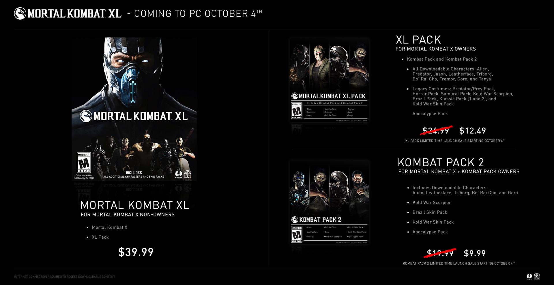 Známe cenu PC verze Mortal Kombat XL 131147