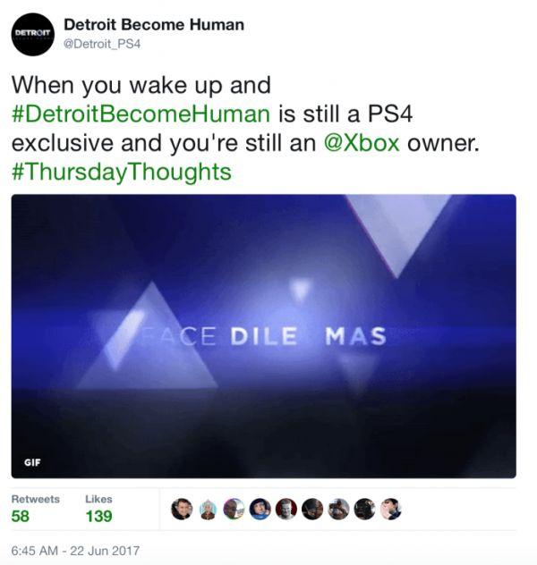 Twitterový účet Detroit: Become Human zaútočil na fanoušky Xboxu 146457