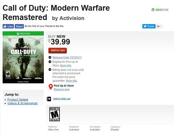 Call of Duty: Modern Warfare Remastered pro Xbox One vyjde 27. července 147559