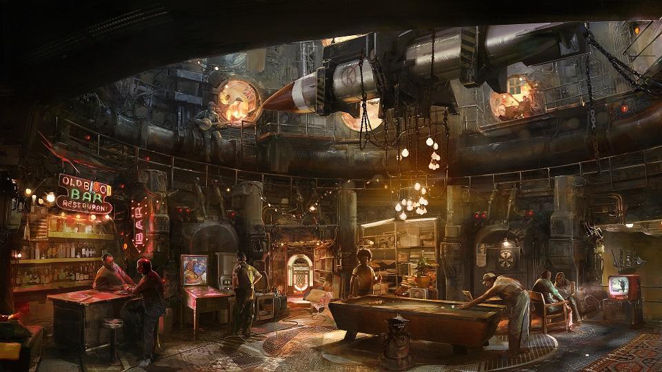 Nálož konceptů ukazuje prostředí Wolfenstein 2: The New Colossus 151711