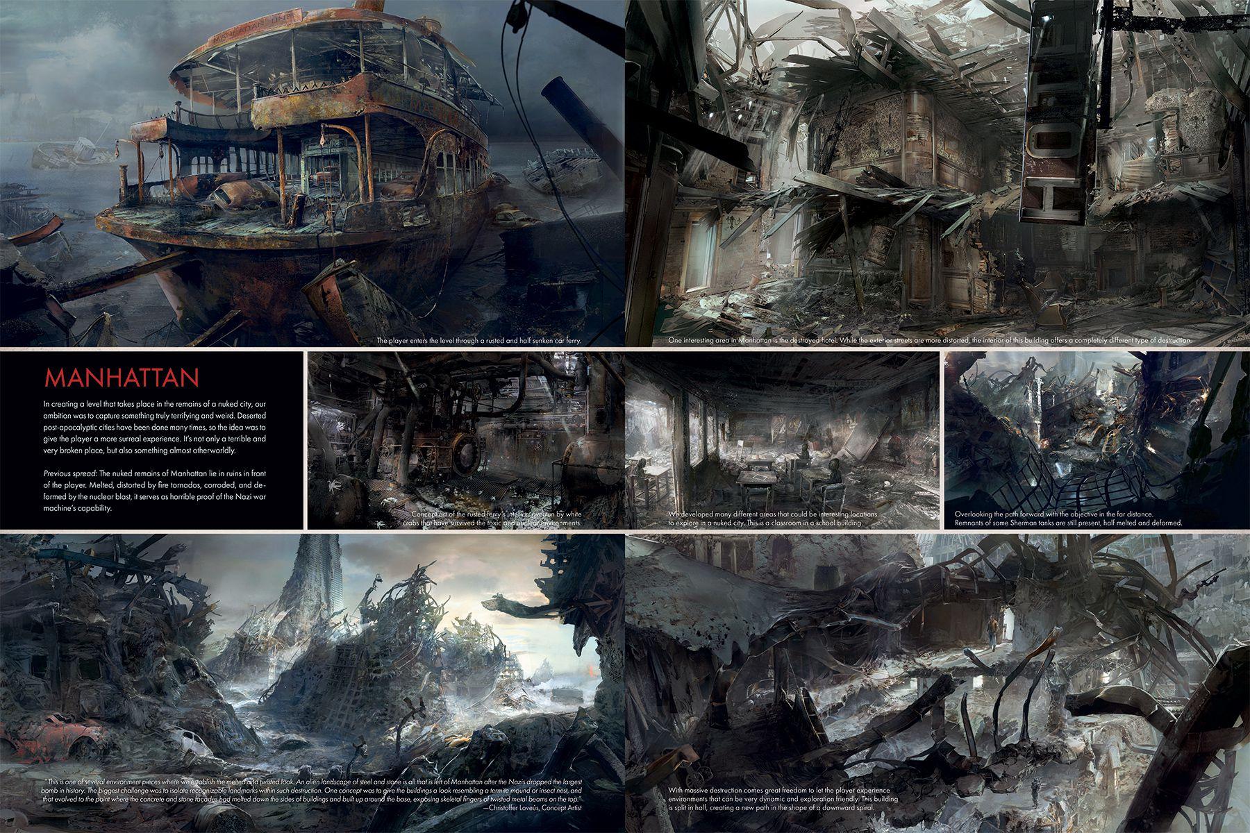 Nálož konceptů ukazuje prostředí Wolfenstein 2: The New Colossus 151722