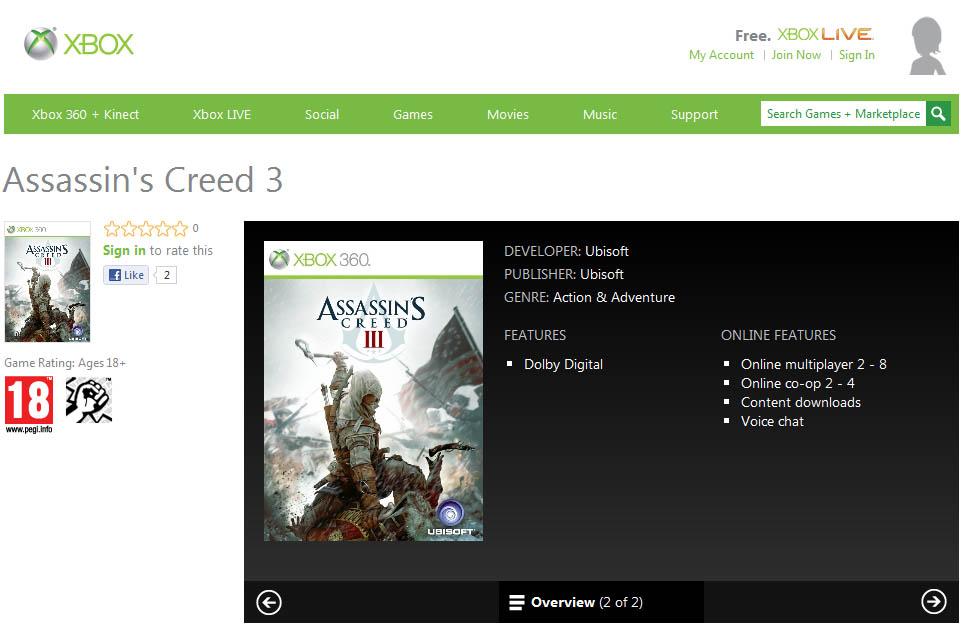 Assassin's Creed 3 zřejmě s online kooperací 61729