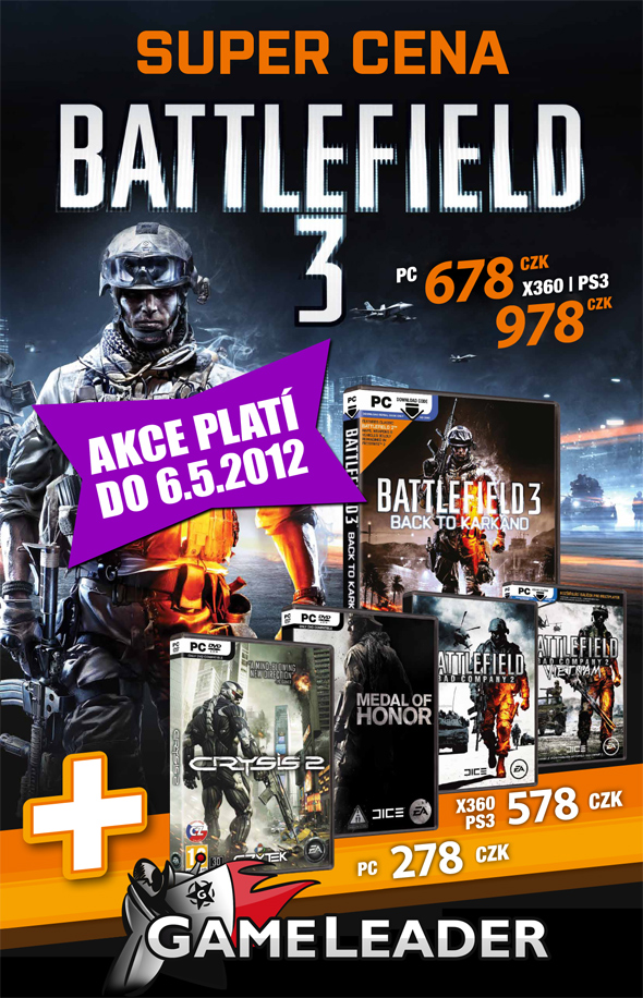 Battlefield 3, Medal of Honor, Crysis 2 ve slevě 64026