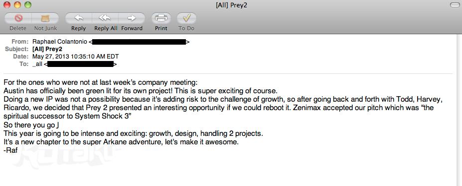 Uniklé emaily potvrzují, že tvůrci Dishonored pracují na Prey 2 85943
