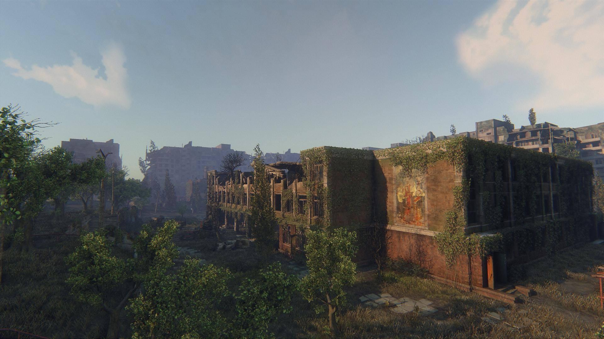 Zarostlé a rozpadající se budovy v Survarium 90471