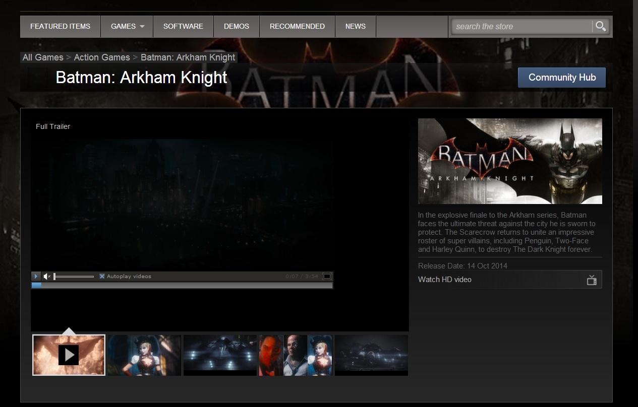 Steam potvrzuje Batman: Arkham Knight na 14. října 94428