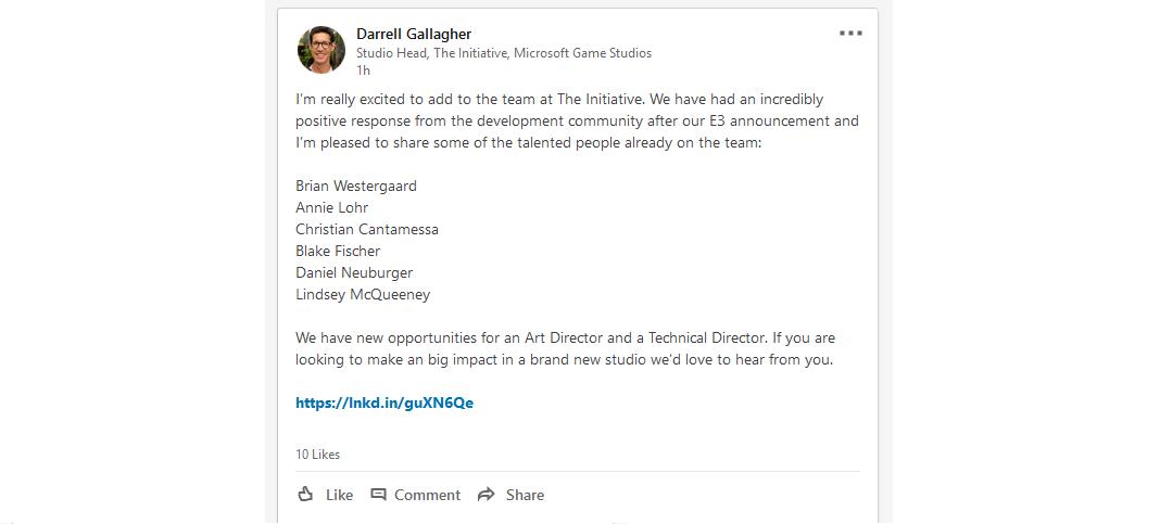 V novém studiu Microsoftu pracují autoři God of War i Red Dead Redemption Darrell Gallagher The Initiative
