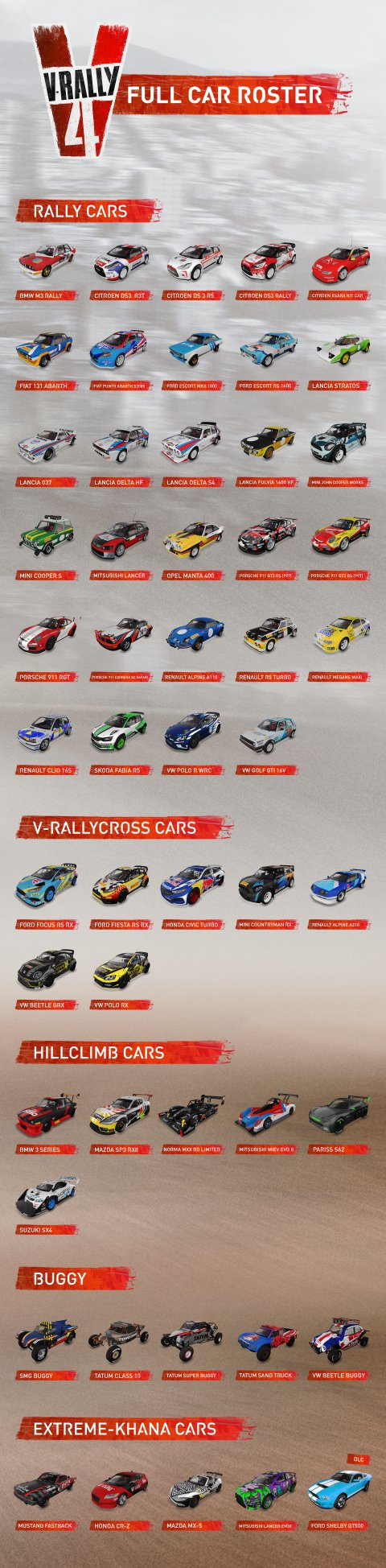 Všech 51 aut z V-Rally 4 V Rally 4 seznam aut