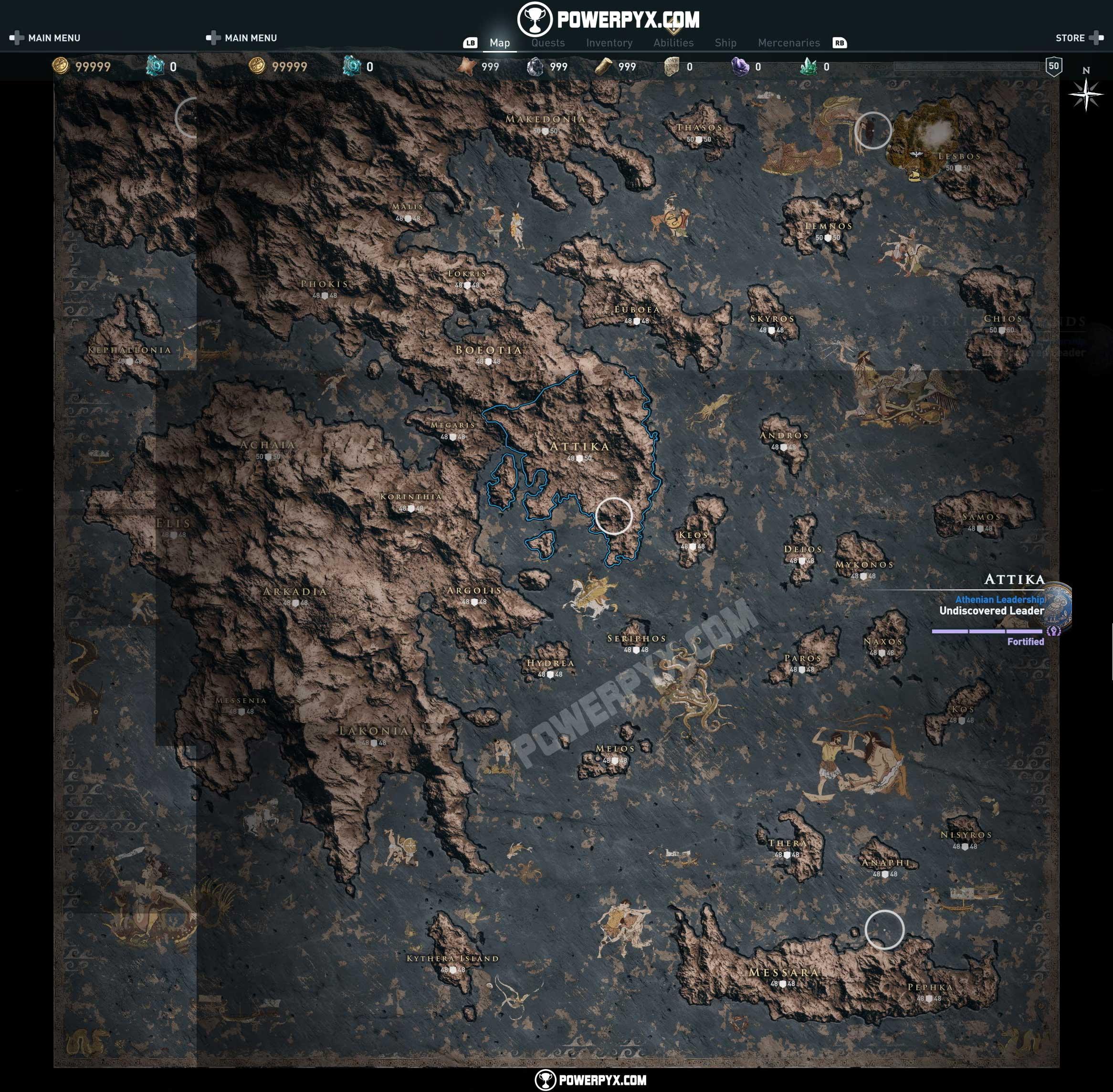 Assassin's Creed Odyssey odhaluje mapu a krásy Starověkého Řecka assassins creed odyssey mapa