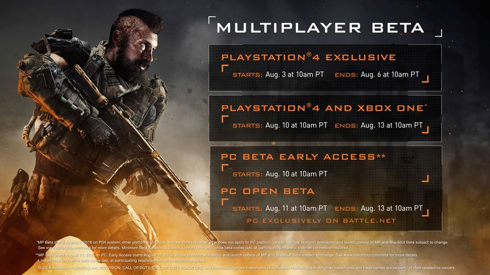Další informace o betě Call of Duty: Black Ops 4 black ops 4 beta schedule