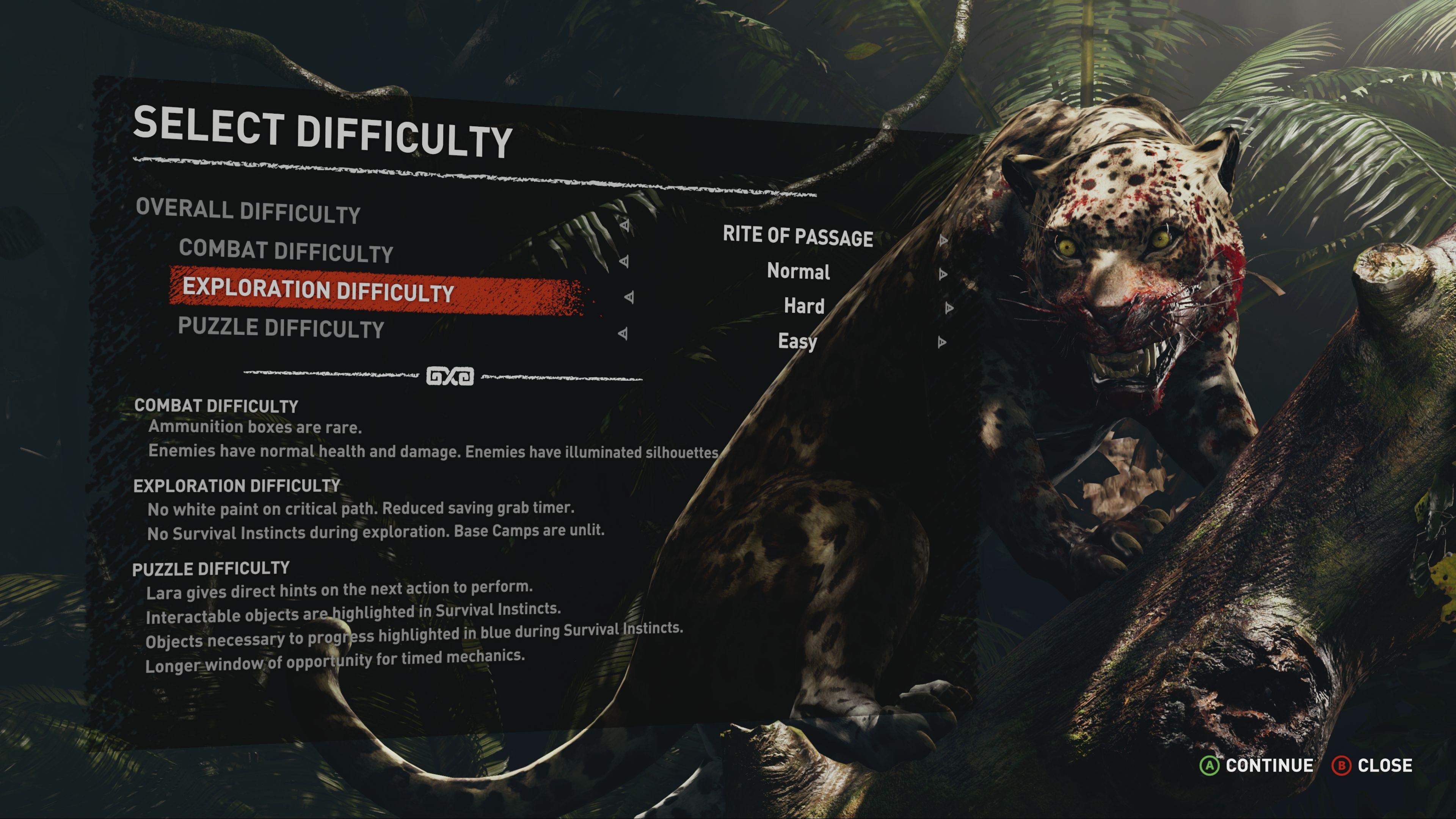 Individuální nastavení obtížnosti pro hádanky nebo boj v Shadow of the Tomb Raider shadow of the tomb raider difficulty