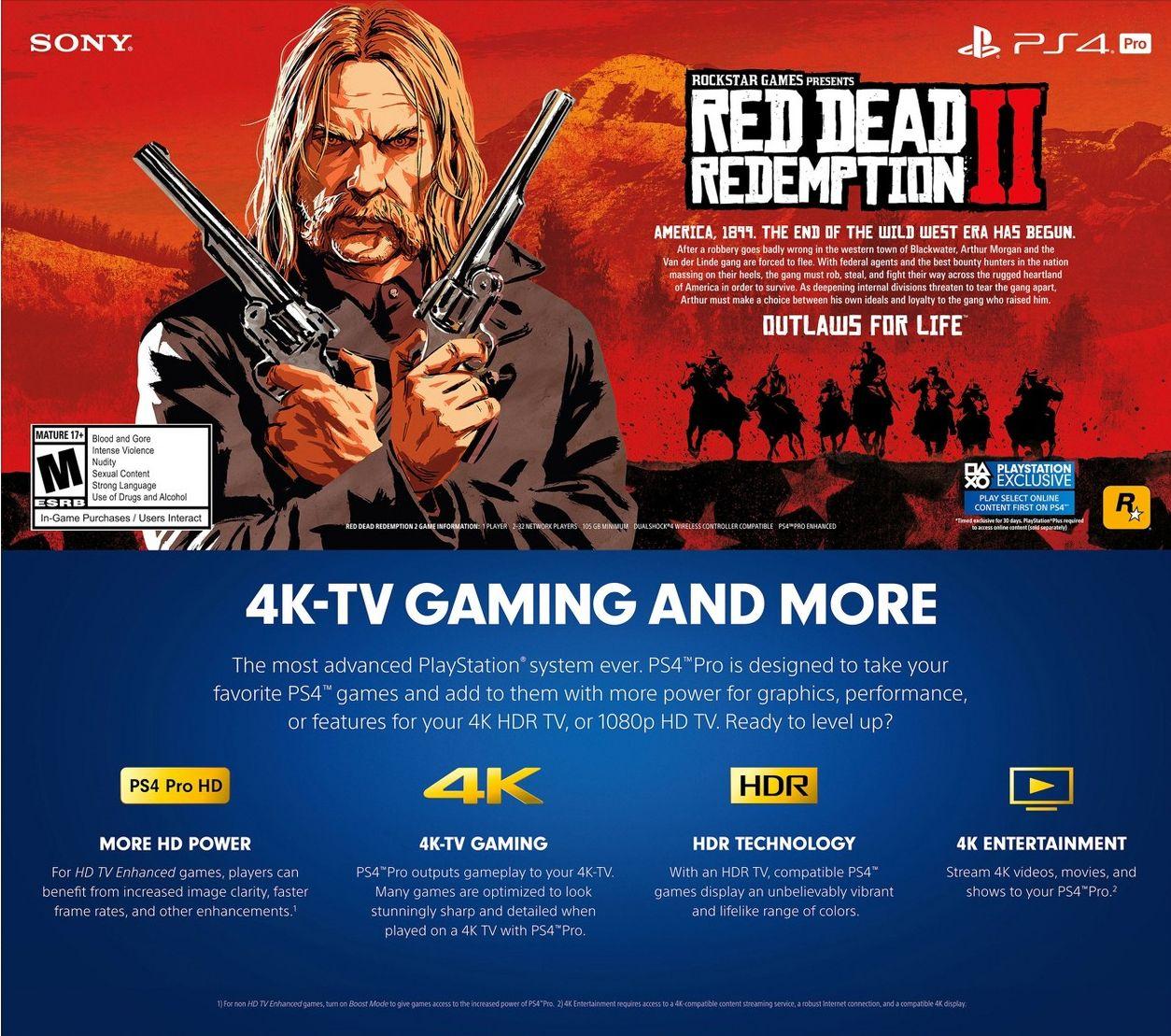 Red Dead Redemption 2 vyžaduje na disku přes 100 GB Red Dead Redemption 2 reklama PS4 Pro