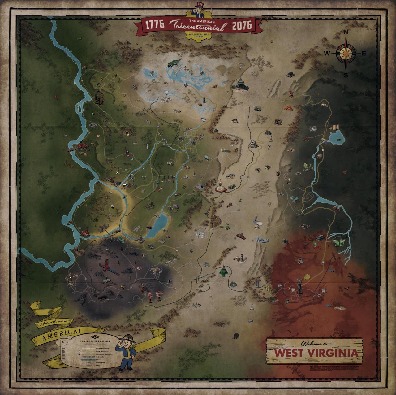 Poslechněte si ústřední skladbu Falloutu 76 Fallout 4 mapa