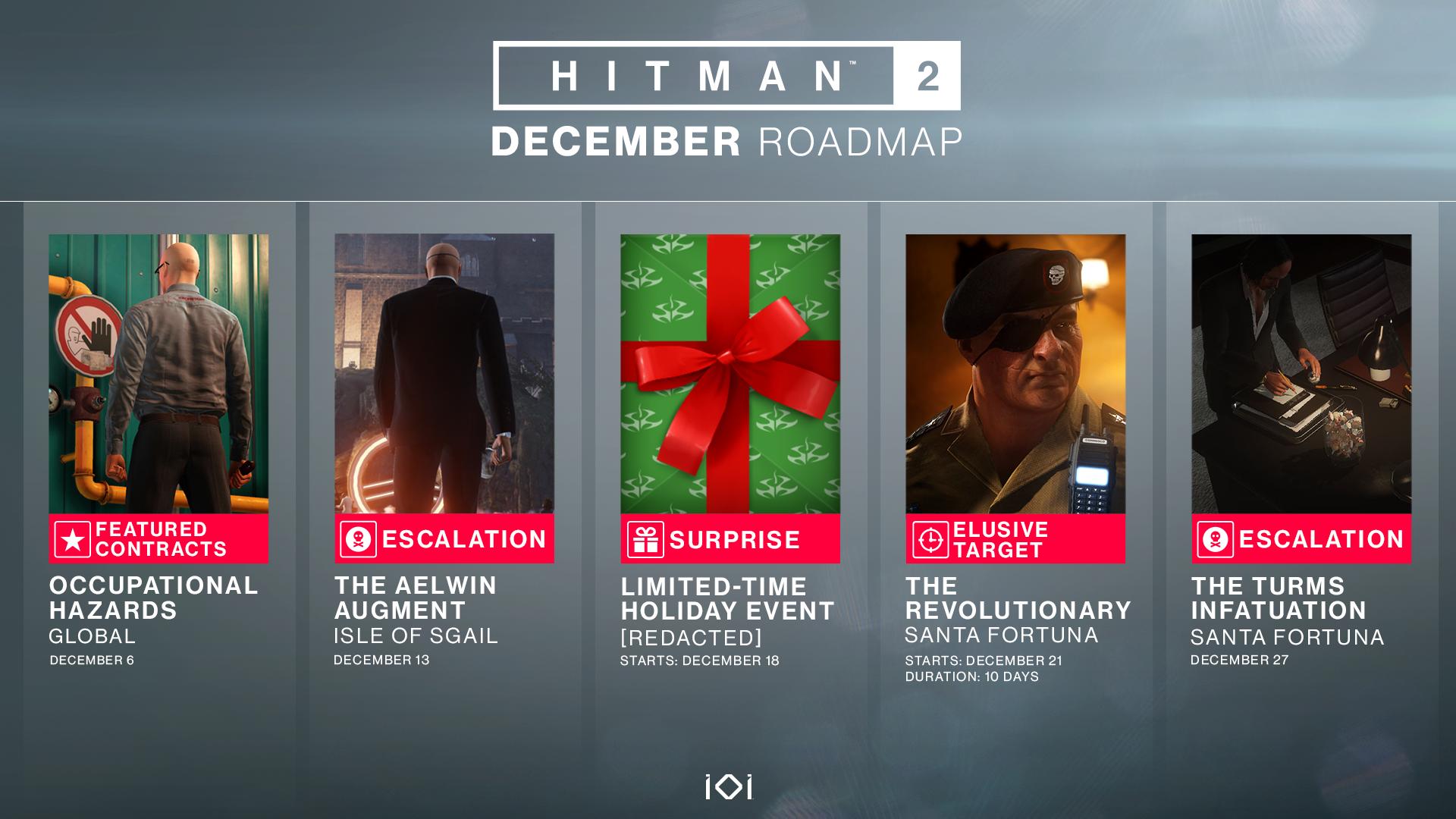 Hitman 2 se tento měsíc dočká nového Elusive Targetu a vánočního překvapení Hitman2 DecemberRoadmapV2