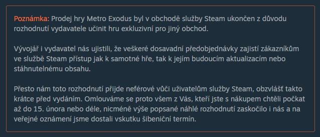 Metro Exodus si na Steamu koupilo 100 až 200 tisíc hráčů Metro Exodus Steam poznamka