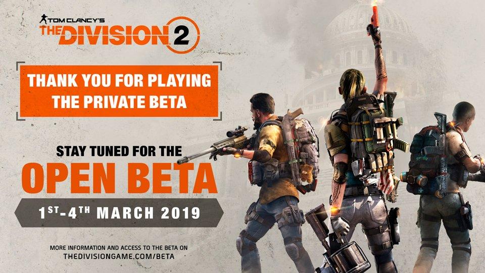 Ubisoft potvrdil na březen veřejnou betu The Division 2 The Division 2 open beta