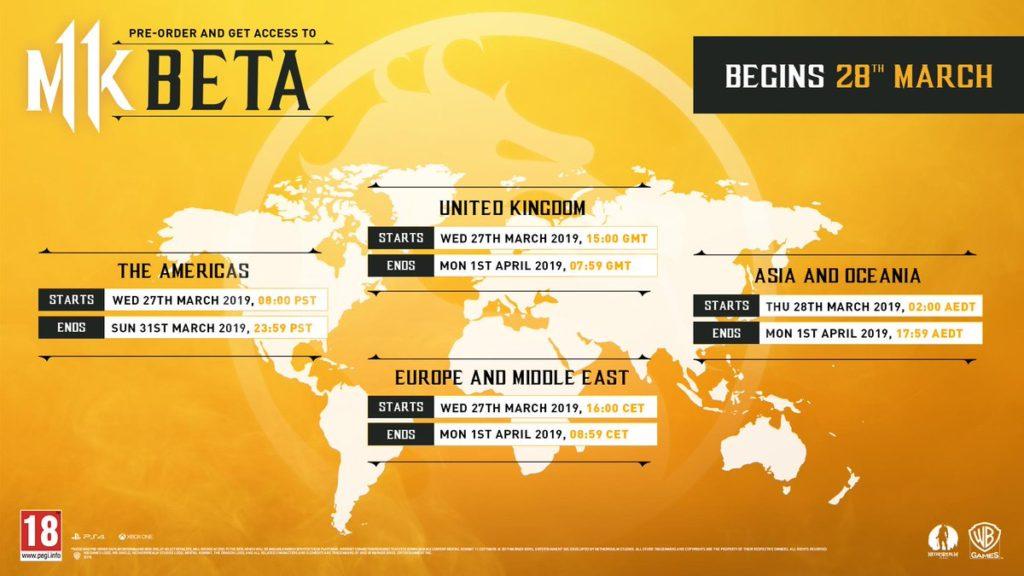 Informace o betě Mortal Kombat 11 Mortal Kombat 11 beta cas