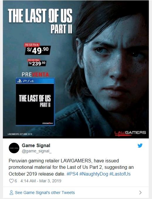 Uniklo možné vydání The Last of Us Part II the last of us part 2 release date october 2019 1