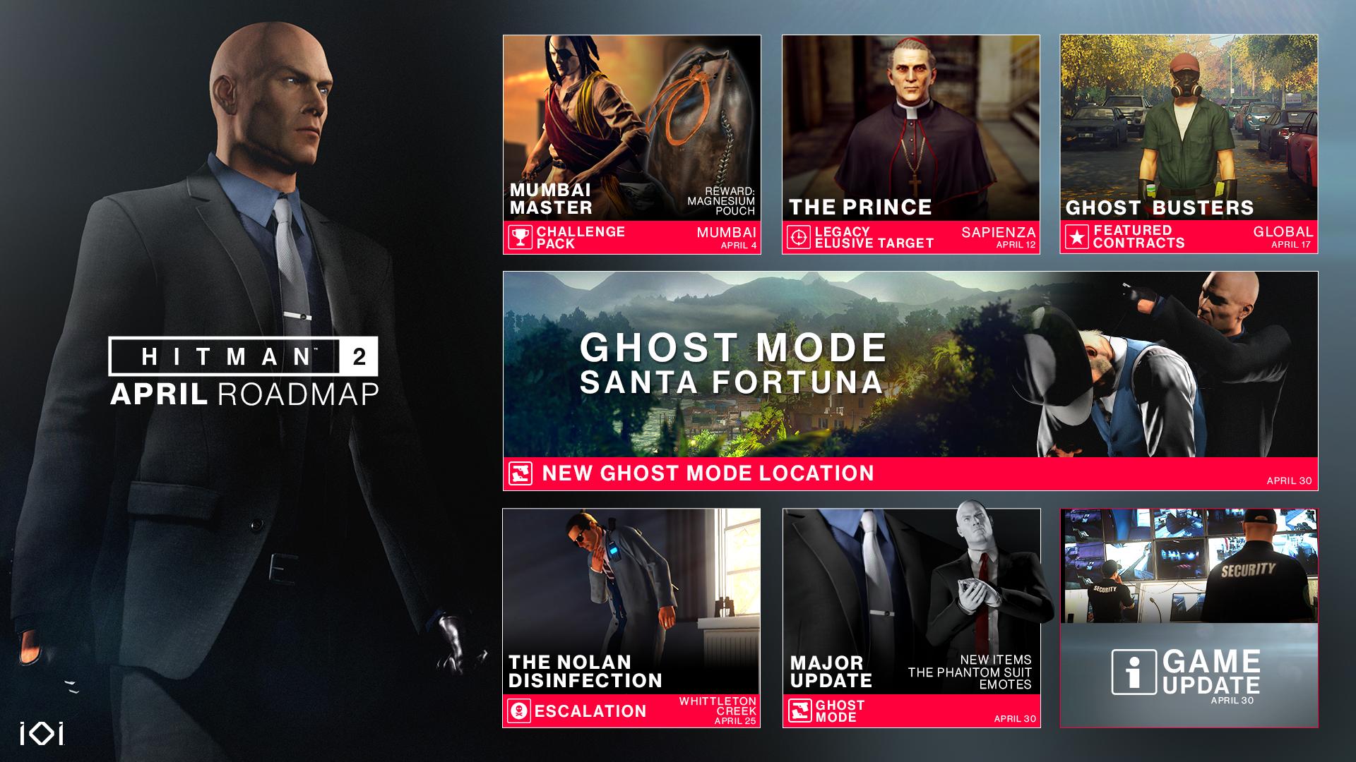 Hitman 2 se tento měsíc dočká nových výzev, Elusive Targetu a velkého updatu pro Ghost Mode Roadmap April final