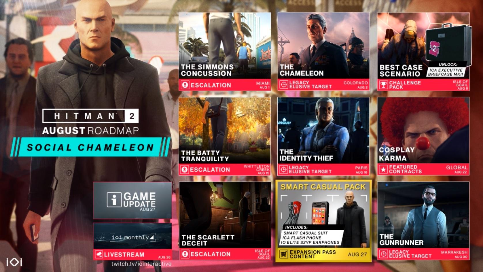 Hitman 2 a trailer k nové misi, oznámení obsahu pro srpen a potvrzení třetího dílu Hitman2 August Roadmap