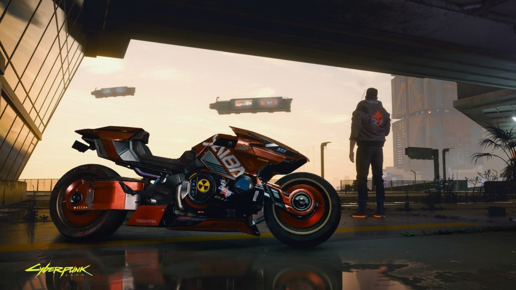 Pohled na motorku z Cyberpunku 2077 motorka Cyberpunk 2077