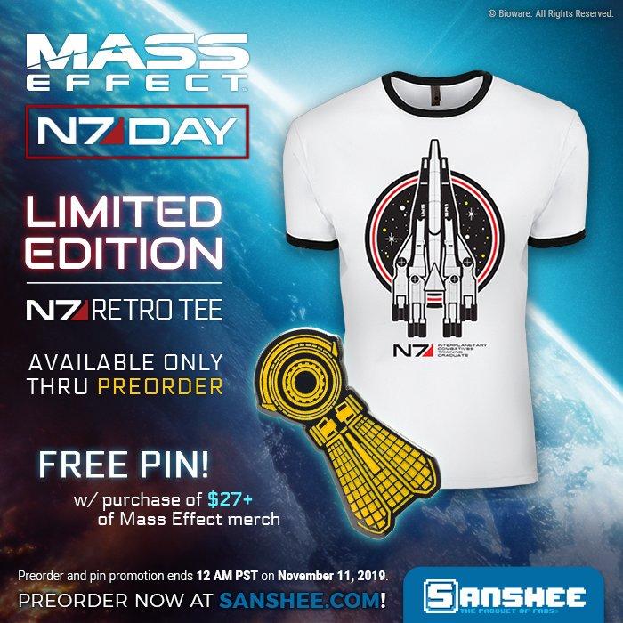 N7 DAY 2019 - vzpomínáme na Mass Effect N7 DAY 2019 new tshirt and pin