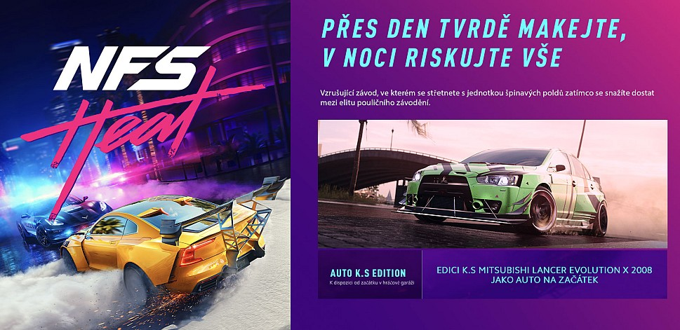 Hodina z hraní Need for Speed Heat NFSheat produktovka