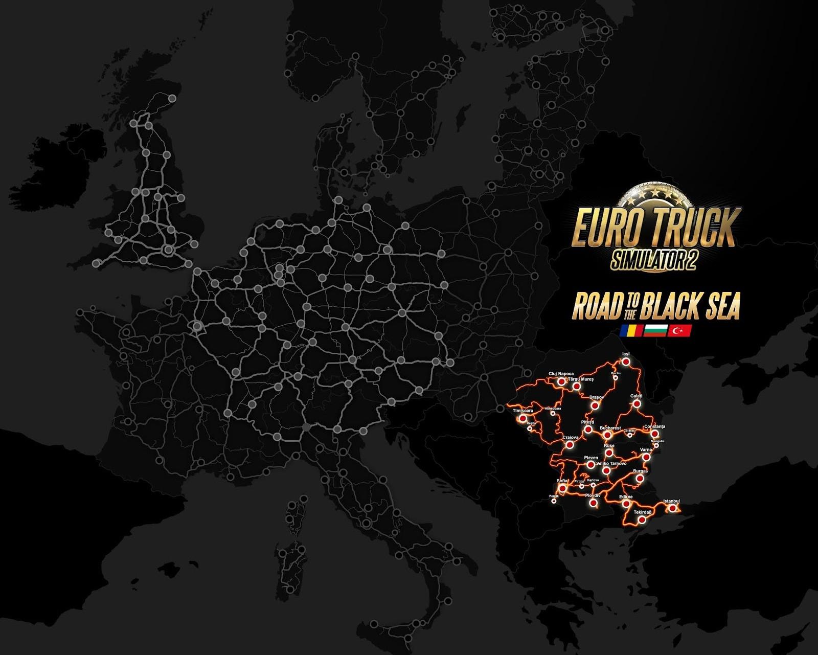 Euro Truck Simulator 2: Cesta k Černému moři eurotrucksim2blacksmap