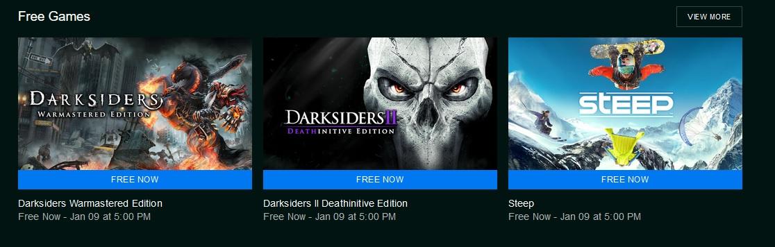 První dva díly Darksiders a Steep zdarma Epic