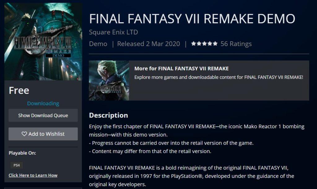 Final Fantasy 7 Remake demo je venku Výstřižek