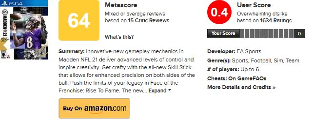 Madden NFL 21 sužuje hodnocení na Metacriticu Screenshot 2020 08 31 Madden NFL 21