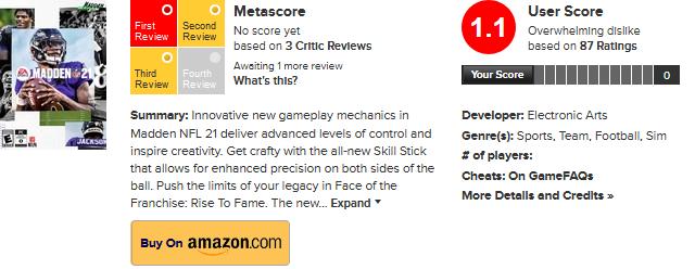 Madden NFL 21 sužuje hodnocení na Metacriticu Screenshot 2020 08 31 Madden NFL 211