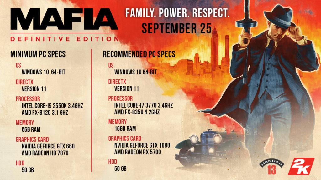 Aktualizováno: oficiální HW požadavky remake Mafie mafia specs