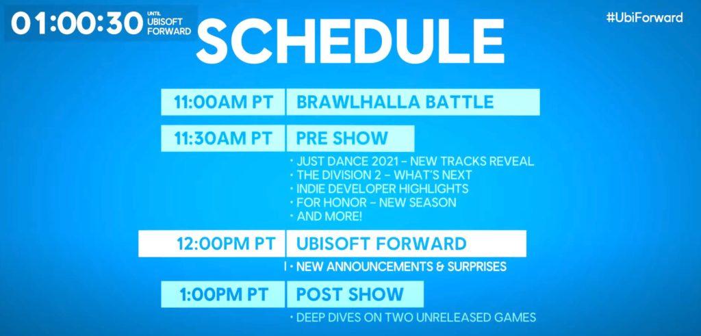 Záznam podzimního vydání Ubisoft Forward schedule