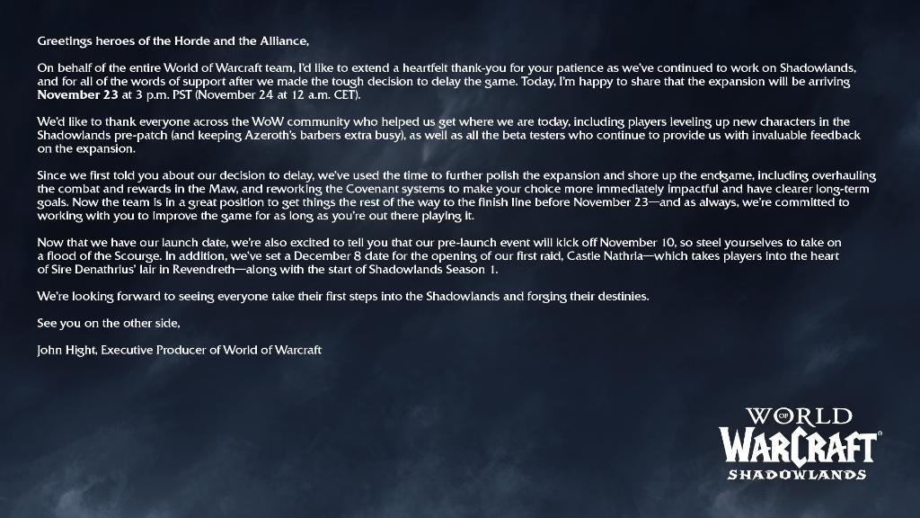 World of Warcraft: Shadowlands má nové datum vydání WoW