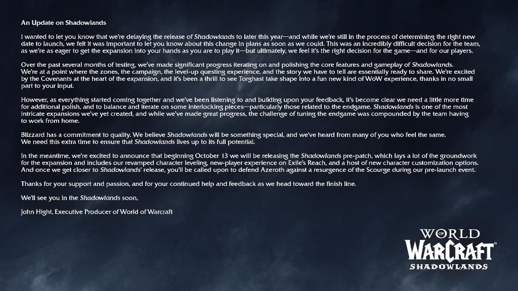 Expanze Shadowlands do WoW se zpozdí World of Warcraft