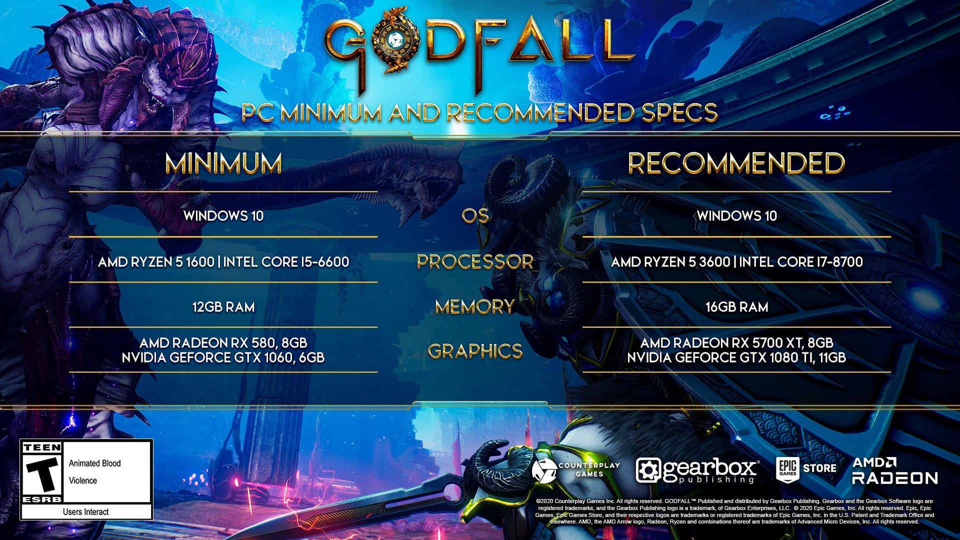 Systémové požadavky pro Godfall Godfall požadavky