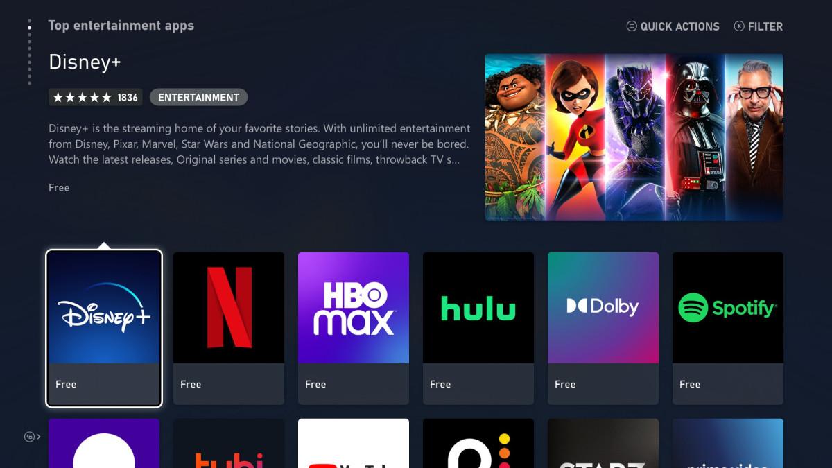 Streamovací služby a aplikace na Xbox Series X/S Xbox Series X entertainment